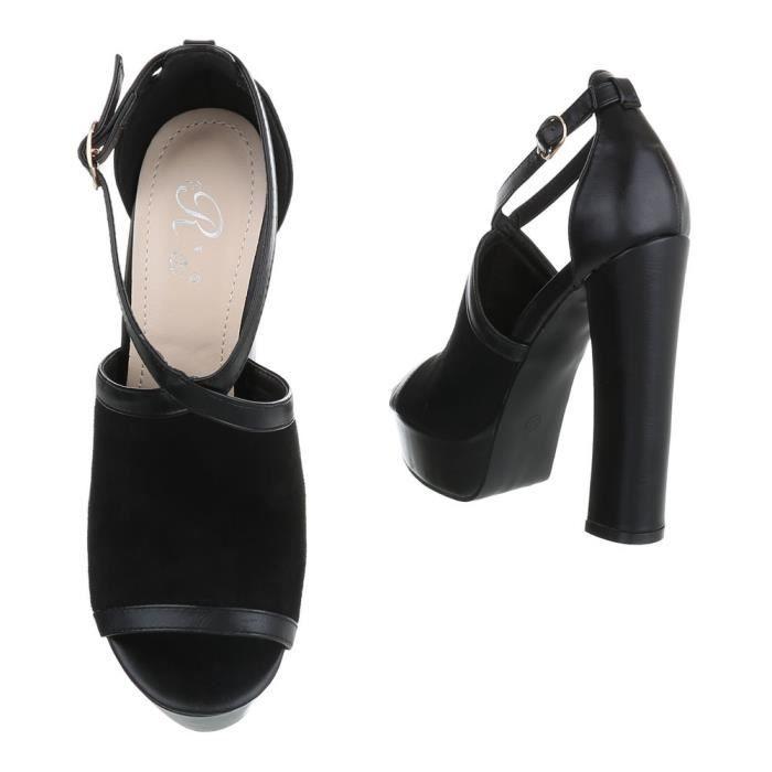 Chaussures femme sandale à talons hauts High Heels Plateau escarpin noir 40