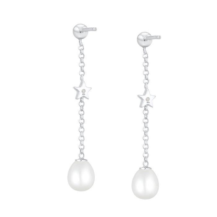 Elli Prime Star femmes perle deau douce 925 zircons Argent Boucles doreilles