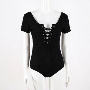 Femmes à manches courtes Solid Body Body léotard Blouse T-shirt Jumpsuit  8264 d18c2bbbbc8