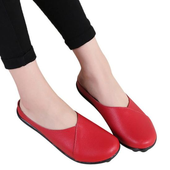 Flats femmes Pure Color Soft Chaussures fond mou Slip-On Chaussures bateau Casual  rouge Rouge Rouge - Achat / Vente slip-on