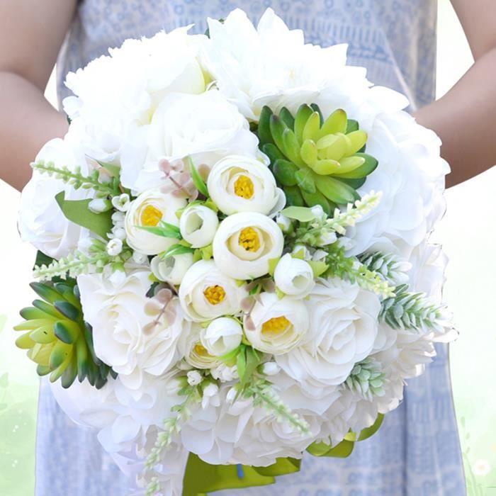 BOUQUET MARIÉE TISSU BLANC Dia. 24cm Succulente blanc + vert  bouquet d