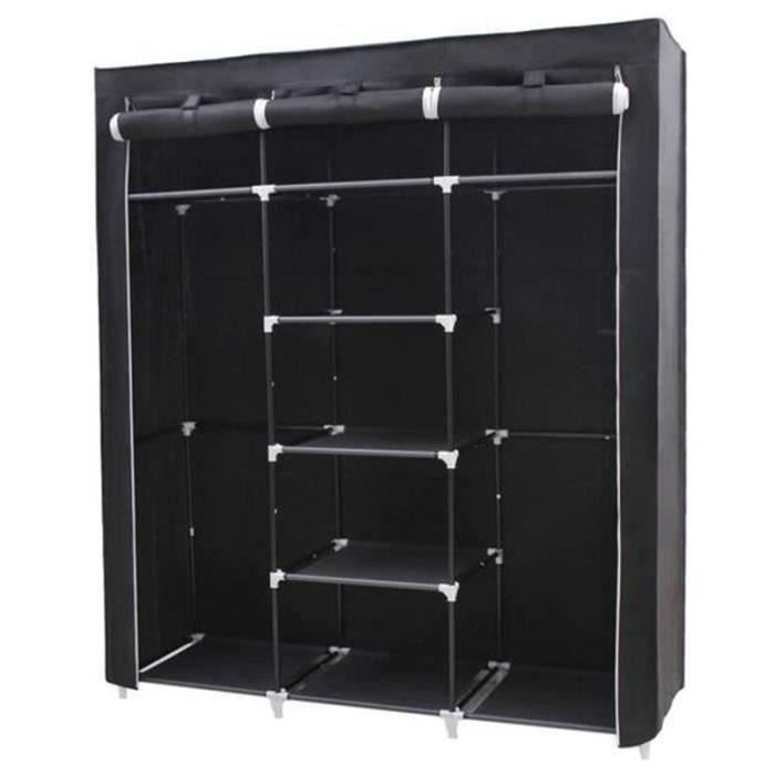 penderie armoire de rangement en tissu intiss 150 x 45 x 175 cm achat vente penderie souple. Black Bedroom Furniture Sets. Home Design Ideas