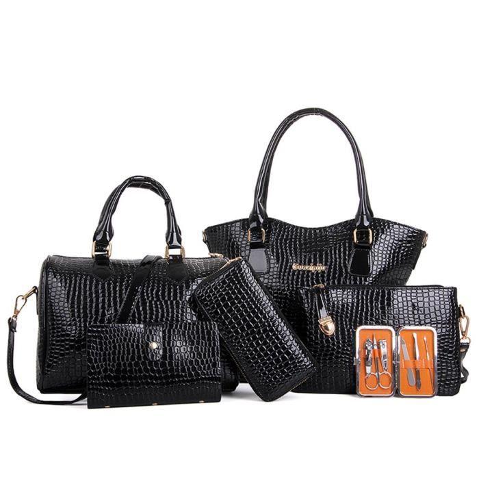 pratique tout épaule Deessesale®Six Mode Sac ZJW11184950 Crossbody femmes Set populaire Sacs fourre main Noir simple à pzSqP