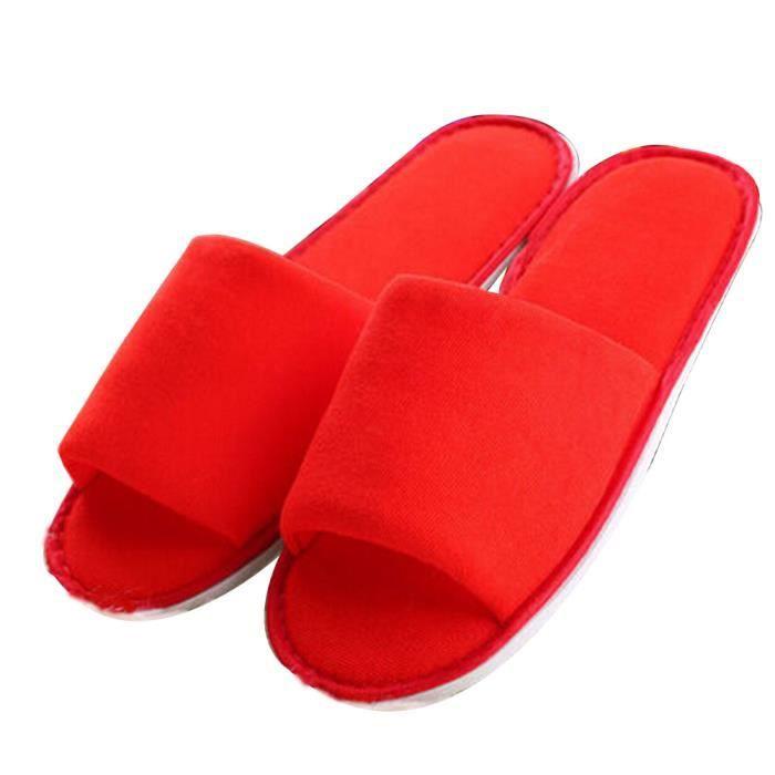 Ensemble de 5 pantoufles à talons ouverts jetables One Size [Rouge]