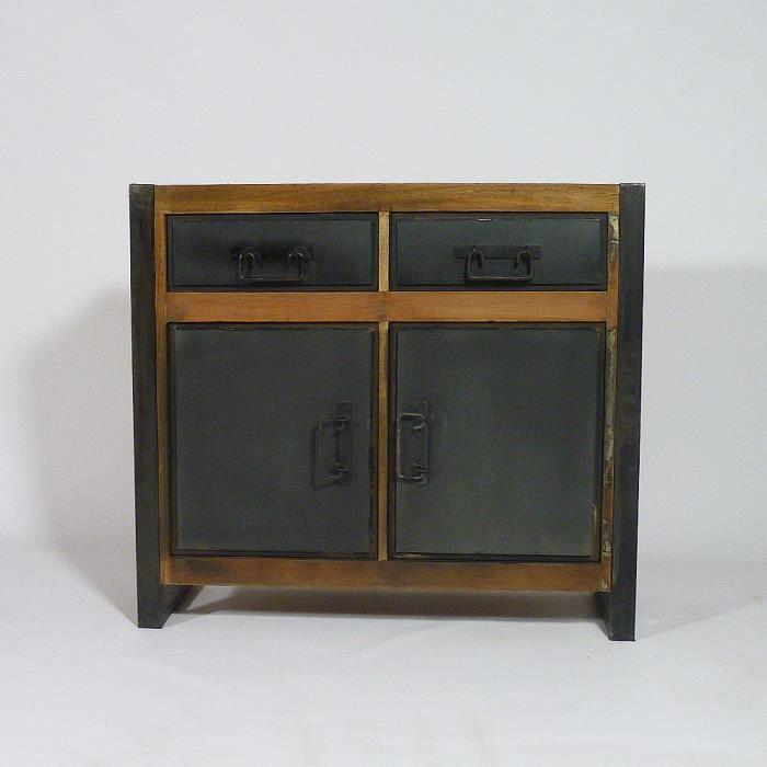 Buffet bas industriel 2 portes 2 tiroirs en boi achat - Buffet bas 2 portes ...