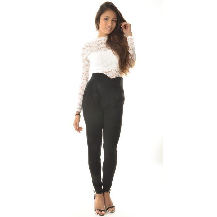 Pantalon tailleur taille haute effet croisé Noir Noir - Achat ... ebc3fc560ec8
