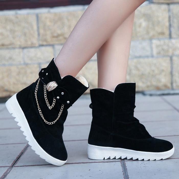 Hiver velours bottes courtes bottes chaudes bottes de neige chaussures femmes