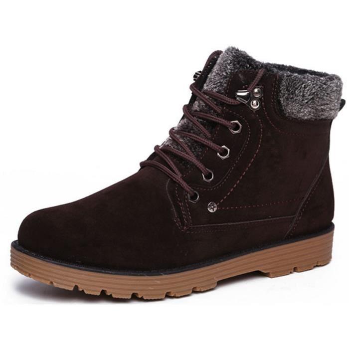 DADAWEN Hiver chaud fourrure en chaussures de sport,homme Bottes de neige brun 44