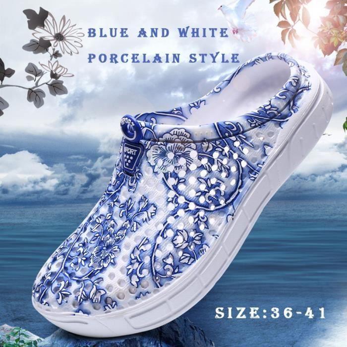 Sandale Mixte style chinois trou bleu et blanc en porcelaine Chaussons Respirant Plage rose taille8.5 lAJsVml