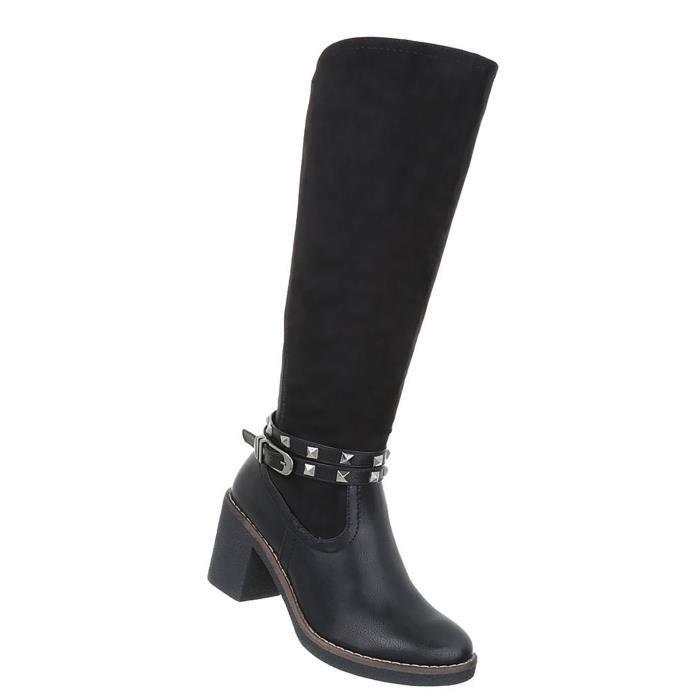 Chaussures femmes bottes avec rivet noir 41