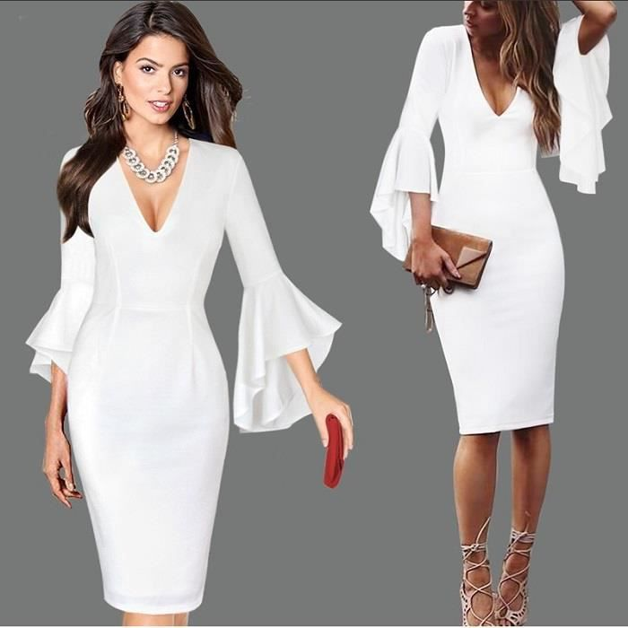 2018 Printemps Nouvelle Sexy Profonde Femmes Sexy Col V Plongeant Flare Cloche Manches Taille Robe Longue