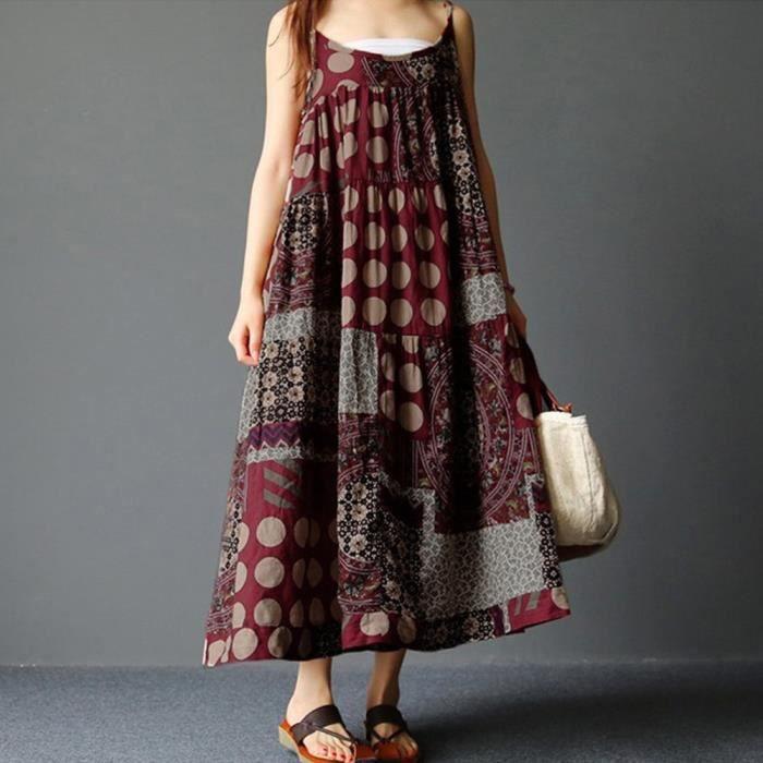 Les femmes dété sans manches en lin à bretelles lâches Bohème Imprimer longue robe Plus la taille @YSZ80315495