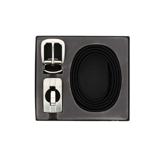26f1515953a NICOLAS DESCHAMPS - Coffret ceinture en cuir noir et 2 boucles ajustables  homme