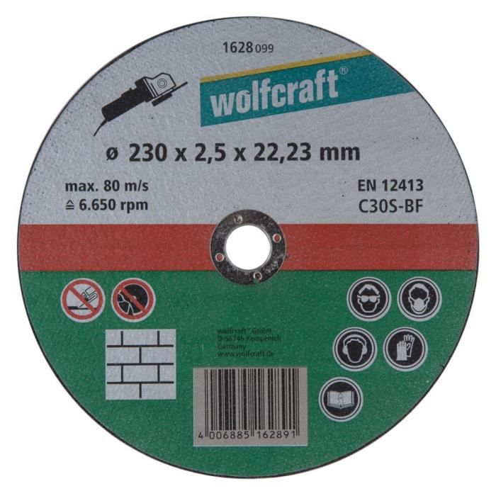 90a73c34e138f4 WOLFCRAFT 1 Disque à tronçonner pierre - Ø 230 mm x 2.5 - Achat ...