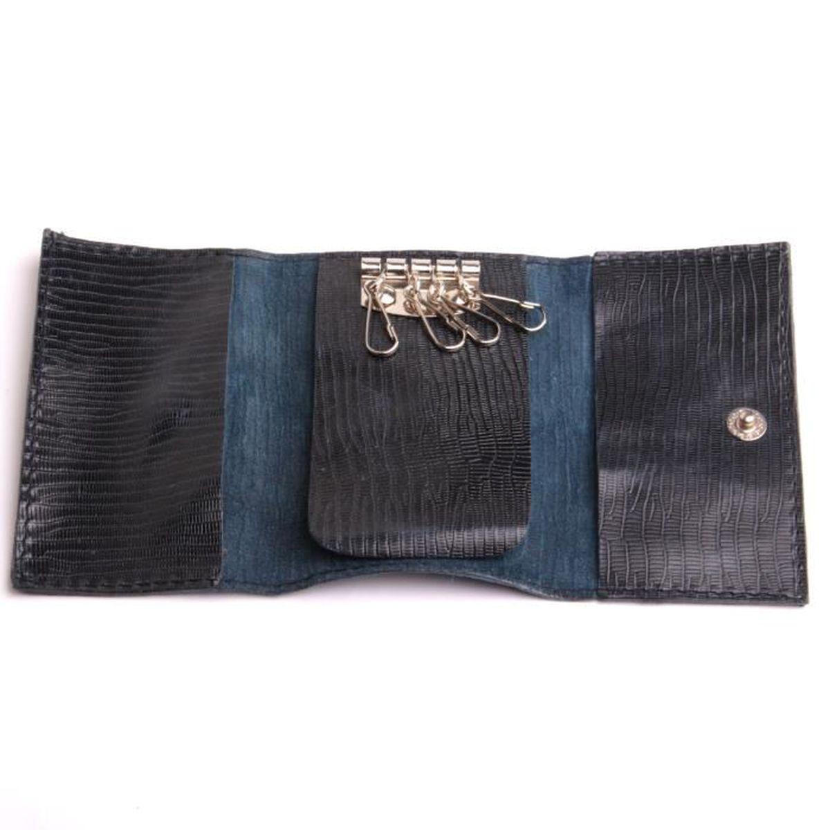 9e3cb5a040a7 Étui clés en cuir noir façon lézard porte-clés avec poches marque by ...