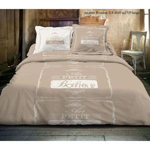 housse de couette 220x240 beige achat vente housse de. Black Bedroom Furniture Sets. Home Design Ideas