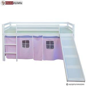 LIT COMBINE  Lit Simple Blanc 90x200 en hauteur avec echelle et