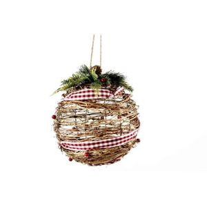 BOULE DE NOËL Boule de Noël avec ruban marron en rotin Ø 20 cm