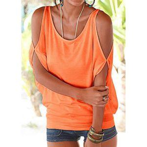 T-SHIRT Européen Sans bretelles Tee Shirt Femme Solide Cou