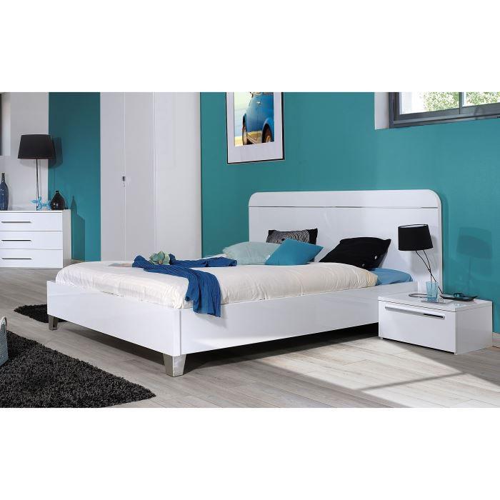 First chambre compl te adulte 140 cm laqu e blanc achat for Vente chambre adulte complete