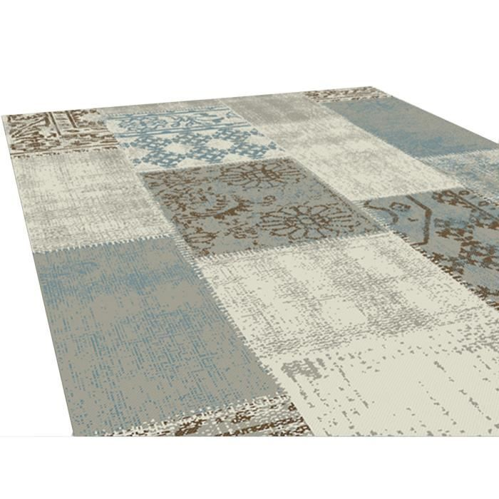 tapis patchwork coloris bleu 160x230 cm - Tapis Patchwork