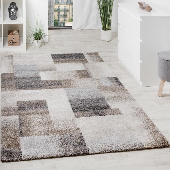 tapis moderne carreaux en beige crme gris 160x230 cm - Tapis Moderne