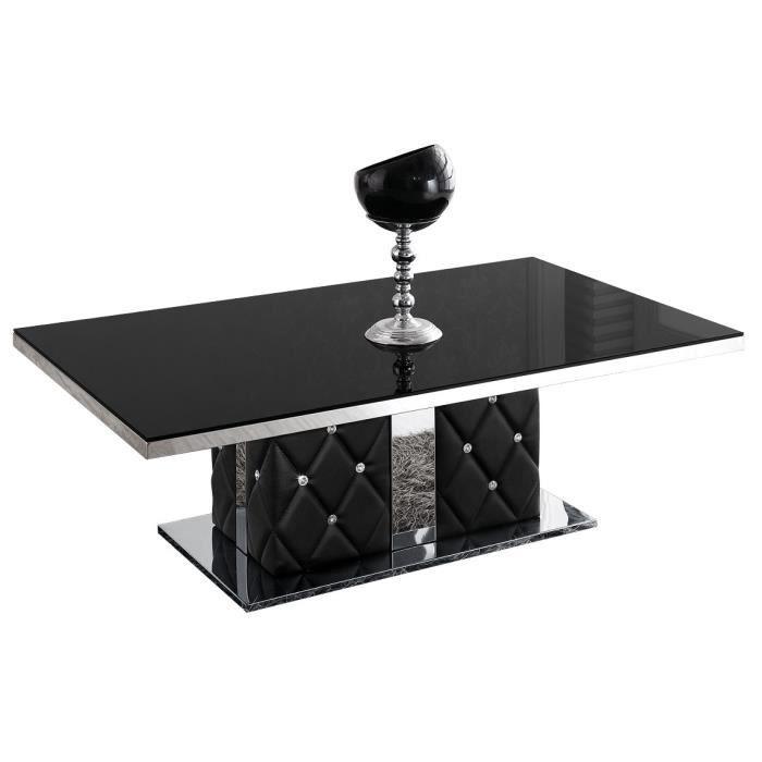 Laqué En Salon Pied De Strass Et Plateau Verre Avec Table Noir TOXlwukPZi