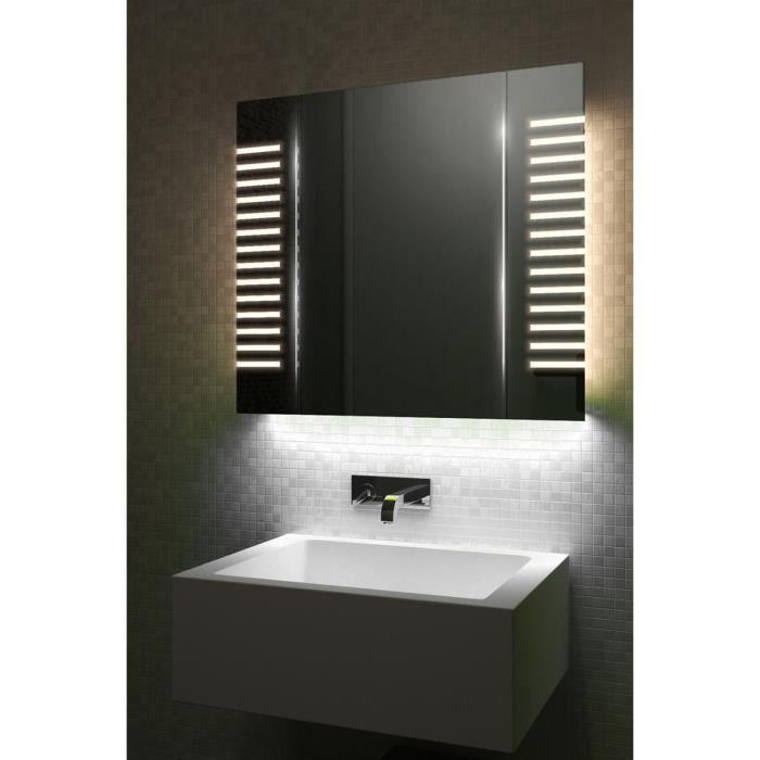 armoire de toilette anti bu e avec capteur et prise rasoir interne k1601iw gris taille h. Black Bedroom Furniture Sets. Home Design Ideas