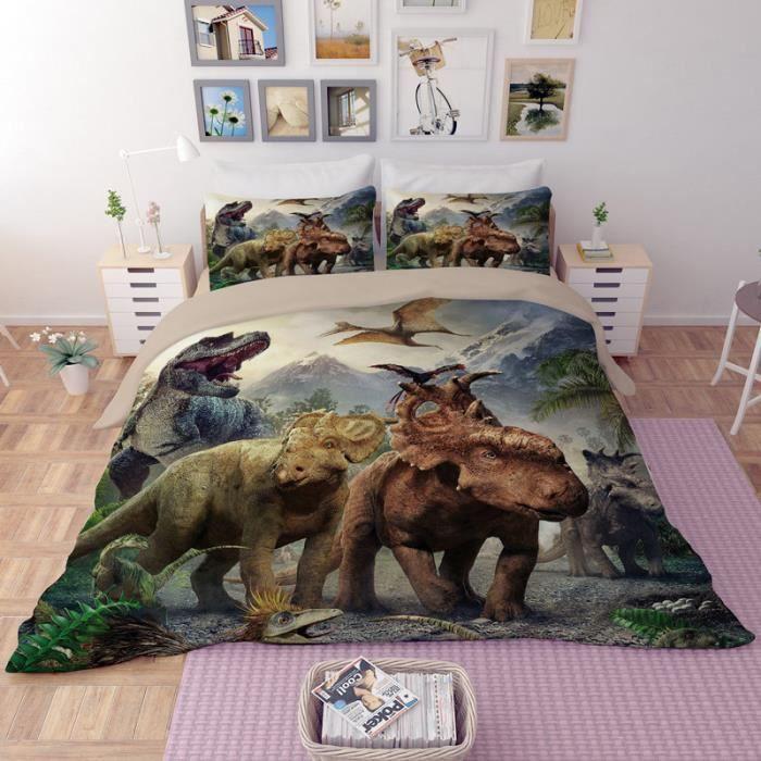 Parure de lit dinosaures 3D effet 160*210cm 3 pieces   Achat