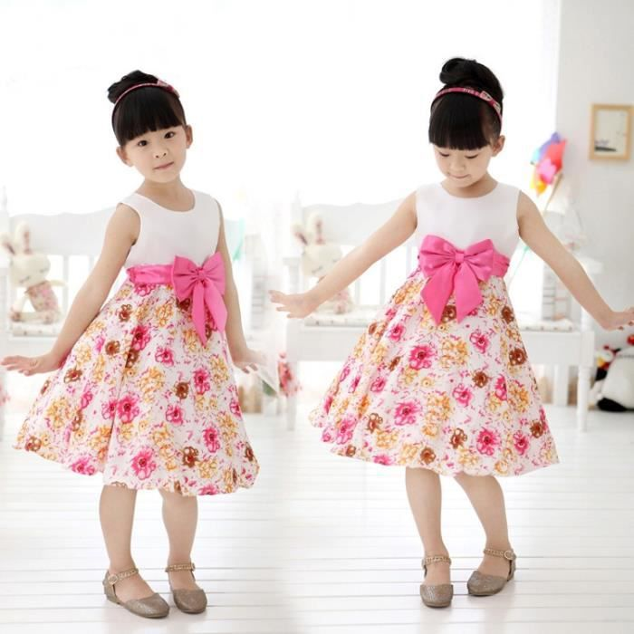 Mode été enfants filles sans manches taille haute robe O-cou Splice impression a-line robe bain de soleil