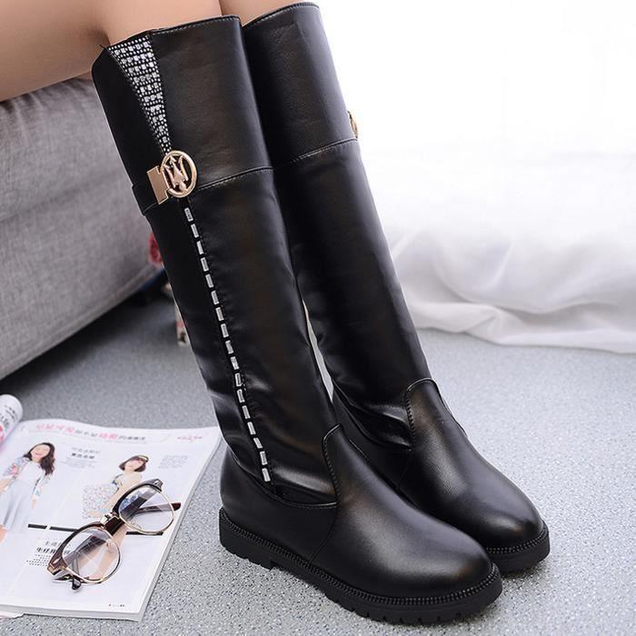 Bottes hautes rondes bottes chaudes plus bottes velours