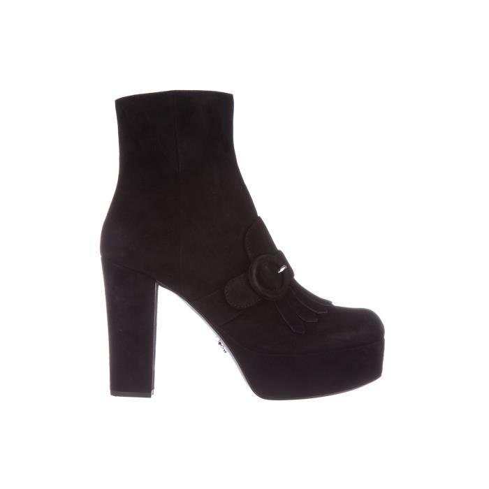 db1333822 Demi bottes femme ' talon en daim Prada Noir Noir - Achat / Vente ...