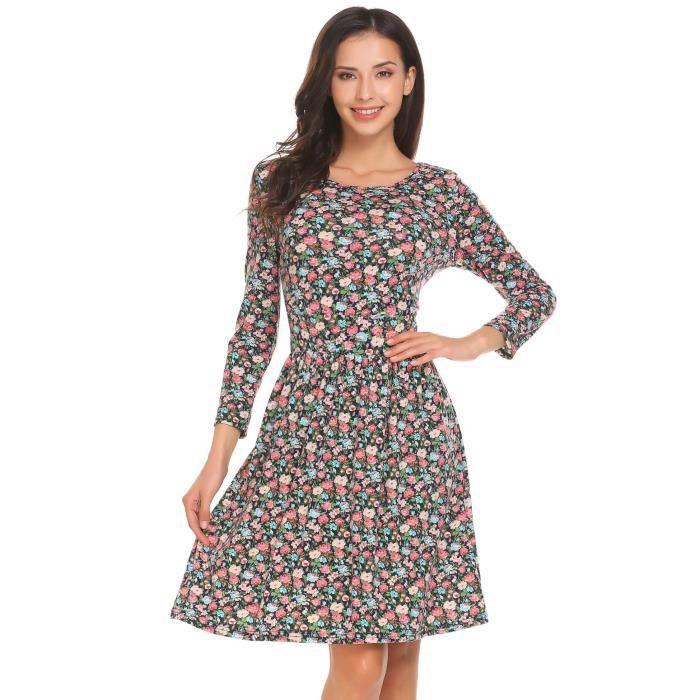 floral imprimé Femmes cou A ligne 3 courte O robe partie manches 4 44T6qB