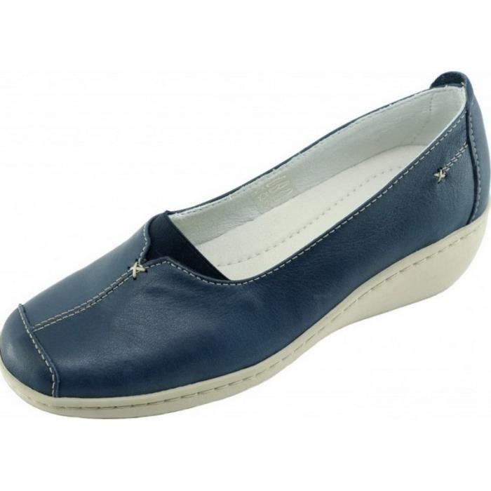 Olifant - Mocassin largeur plus compensé souple flexible confortable chaussures grande largeur Femme pieds sensibles cuir bleu