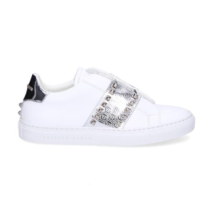 6dd8988cf7f PHILIPP PLEIN FEMME WSC0771PTE094N70 BLANC CUIR BASKETS Blanc Blanc ...