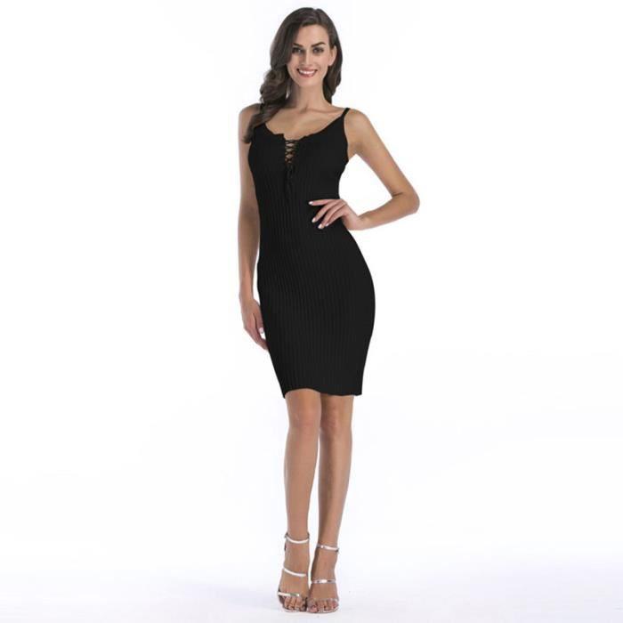 9105c267ea1 Robe Femme en Tricot Bretelle Mi-Longue Lacet Couleur Unie Noir Noir ...