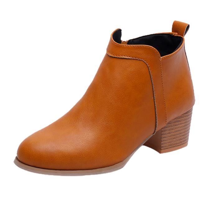 3c9a123db7d34 Mode Vintage bas Talon épais botte courte cheville Bottes Bottines  Chaussures femme Jaune