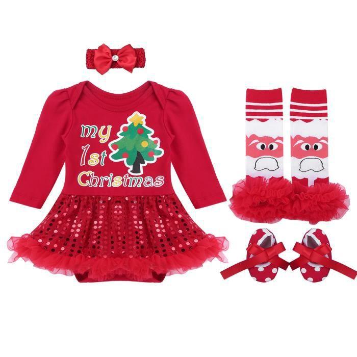 a4efb42308d7f Ensemble Vêtement Bébé Fille Costume Noël Photographie Christmas Tenue 0-12  Ans  2