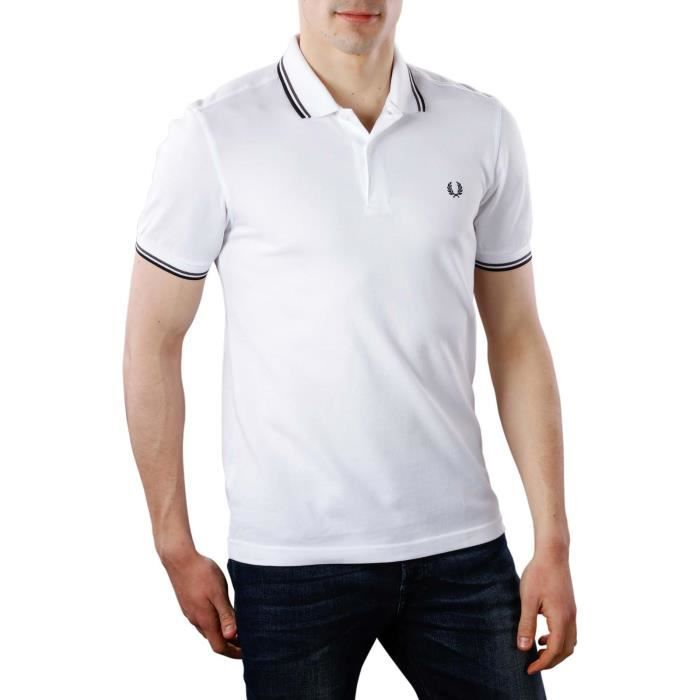 POLO Polo Fred Perry Slim Fit Blanc hommes. M3600 F28.