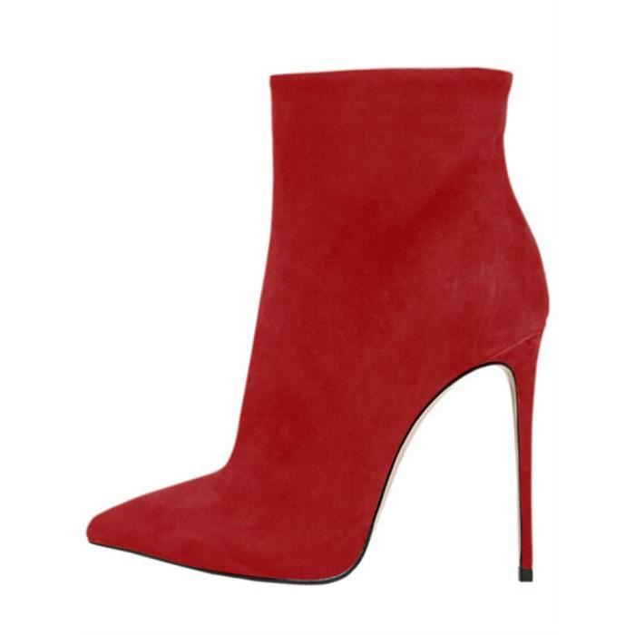 Shoes Zip Heels Pointed Taille Ladies Booties USBQQ Ankle Toe Stiletto Boots High Sexy 37 nAfxYwvq