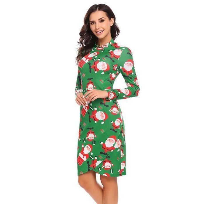 fe8ca6079da ... Robe longue femme col haut à manches longues imprimé imprimé de Noël  fermeture à glissière ...