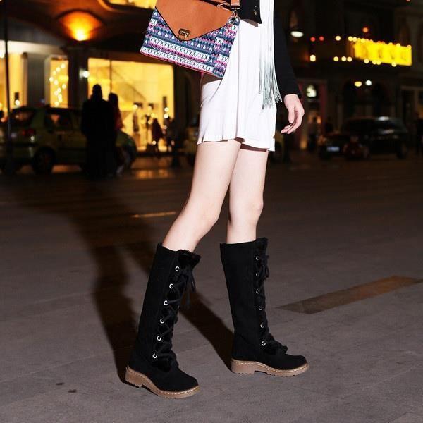 Bottes mode femme Soins de la peau d'hiver Plat Jambes Bottes Chaussures sexy,marron,4