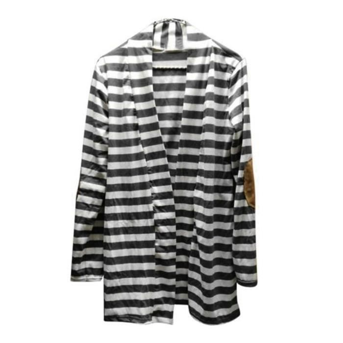 Outwear Longues Femmes Cardigans Casual Patchwork Rayures Blanc Manches Spentoper qUWgx00