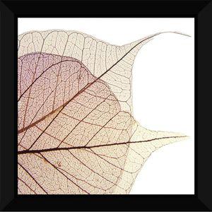 TABLEAU - TOILE Tableau encadré 60x60 - Feuilles rose