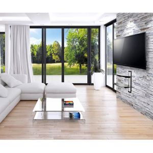 PACK ACCESSOIRES Support mural etagère verre pour accessoires télé