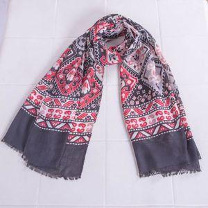 ECHARPE - FOULARD Châle foulard à imprimé ethnique pour femmes noire f9fb3888c0d
