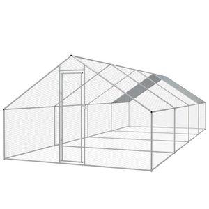 POULAILLER Cage extérieure pour poulets Acier galvanisé 3 x 8