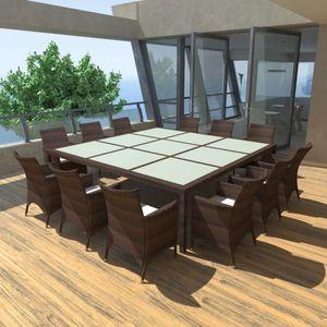 salon de jardin manger en rotin de 12 personnes a un design lg - Table A Manger 12 Personnes