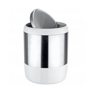 POUBELLE - CORBEILLE Poubelle salle de bain blanc et acier avec couverc