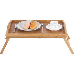 TABLE À MANGER SEULE Table de petit-déjeuner en bambou bois avec pied d